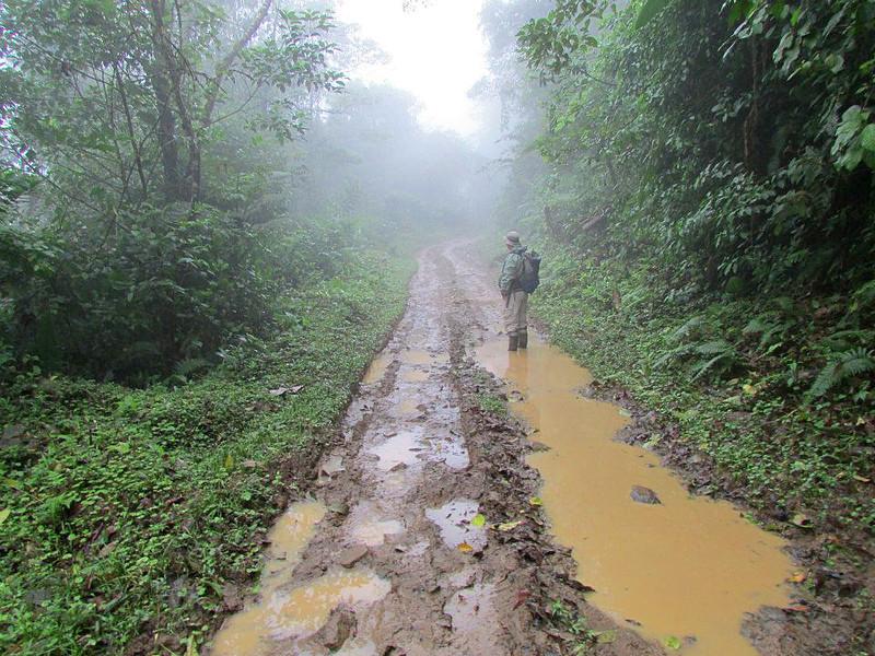 Eduardo Carrillo demonstrating proper use of rubber boots. Alberto Manuel Brenes Biological Reserve, Costa Rica. Photo by Rachel Kronyak.