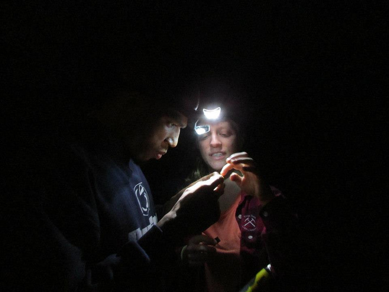 Tramond and Rachel examining an insect at night. Photo supplied by Rachel Kronyak.