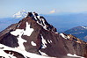North Sister, Mt. Jefferson, Mt. Hood, and Mt. Adams.  The beautiful view from the top of South Sister