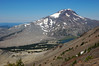 A view of South Sister and Green Lakes while climbing Broken Top.
