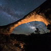 The Milky Way behind Owachomo Bridge in Natural Bridges National Monument.  Utah, USA.