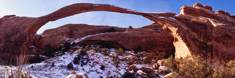 Landscape Arch in Arches National Park, is 307 feet long and very thin.  The last rockfall was far greater than the amount of rock still in place, so it probably won't be around for much longer.  This photo of the arch with snow, was taken December 29.