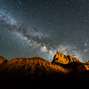 The Milky Way rising behind The Watchman in Zion National Park.  Utah, USA.