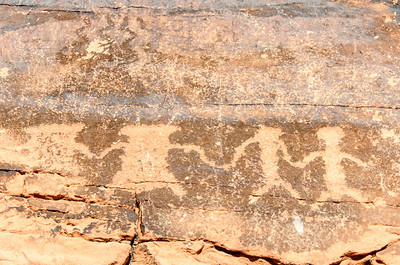 A short hike through Mouse's Tank finds the prehistoric petroglyphs lining the canyon walls.This area was used by renegades as a hideout in the 1890s.