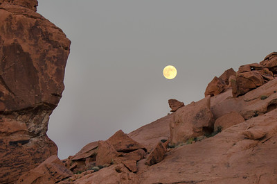 It was a full moon and I tried to capture it among some of the rock formations.