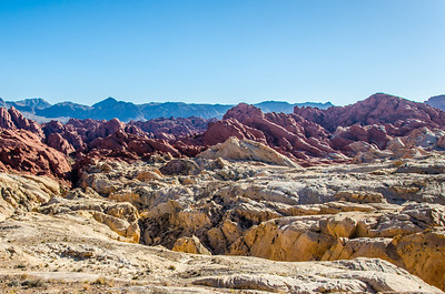 A view across Fire Canyon/Silica Dome. Sandstone formations.
