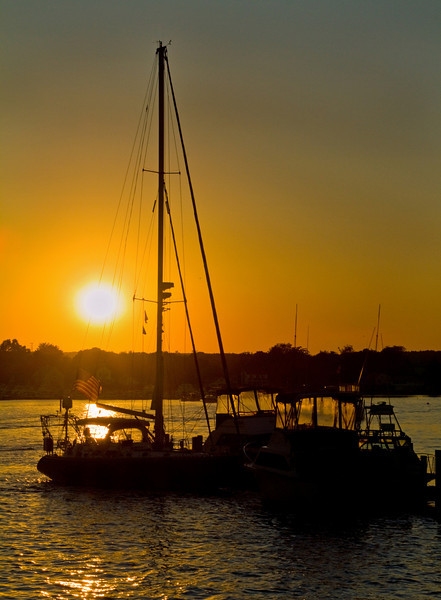 Sail boats docked at sunset, Waterford, CT.