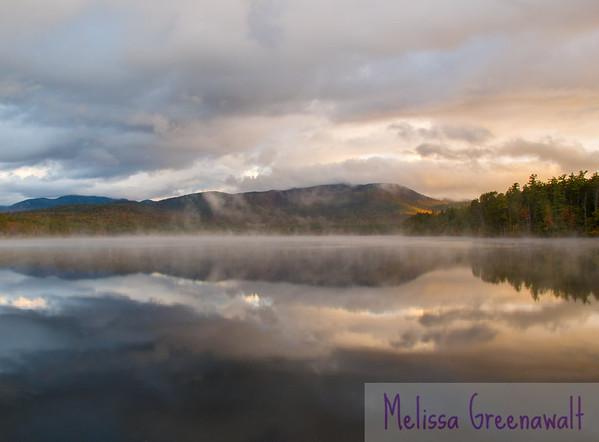 Chocorua Lake, perfectly calm in the autumn fog.