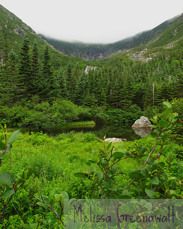 Hermit Lake and Tuckerman Ravine on a quieter day, between winter and summer.