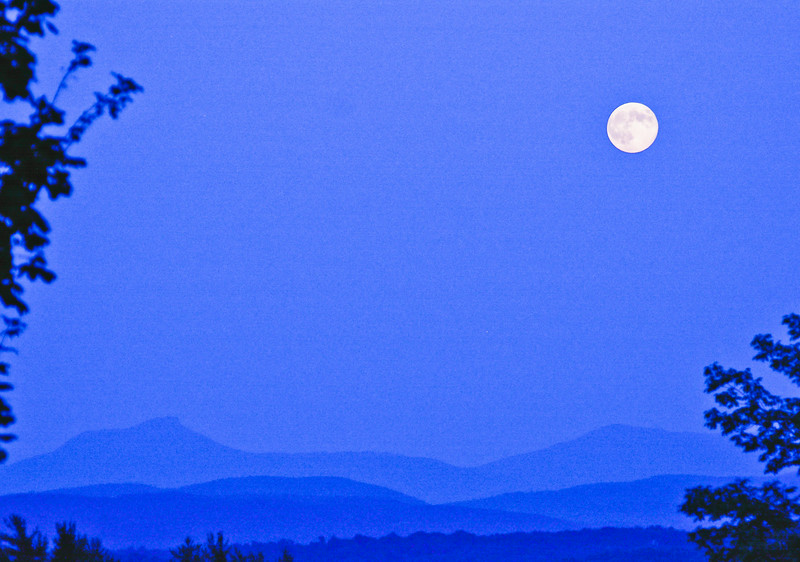 supermoon over Vermont green mountains