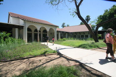The front view of the Discovery Center.  The main meeting room is to the left and the large classroom is to the right.
