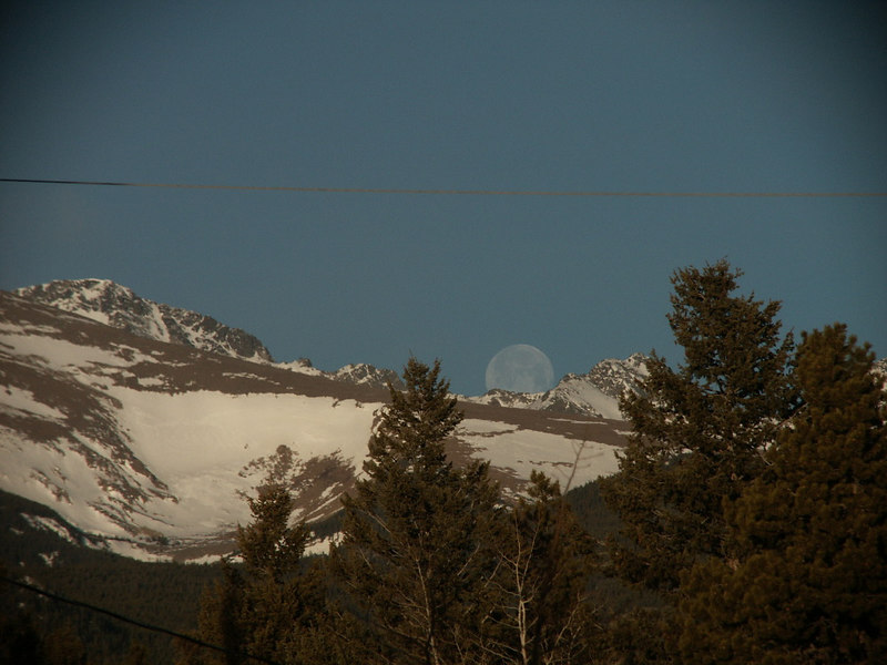 Moonset over the mountains - view from our porch