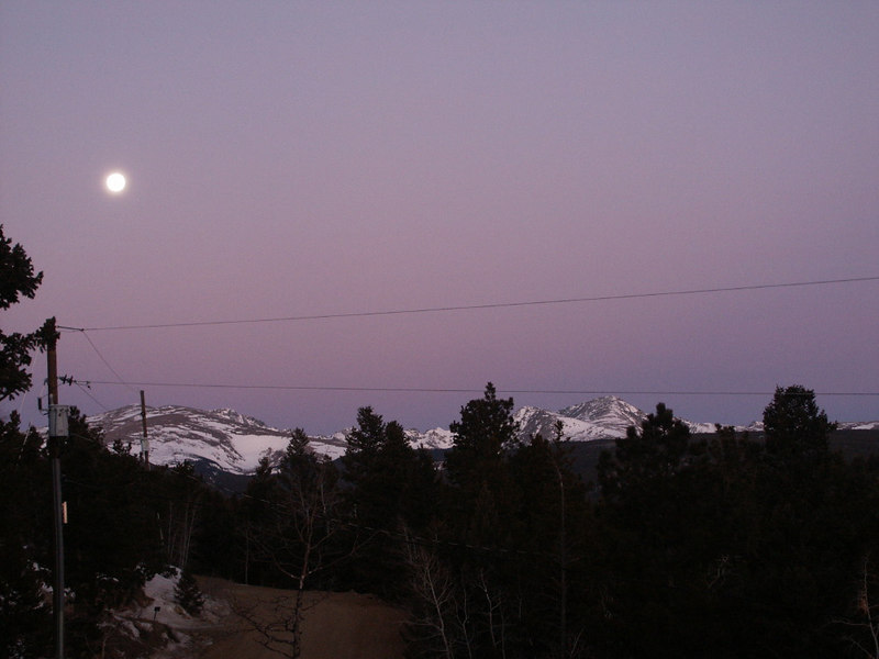 Moonset over the mountains -  view from our house