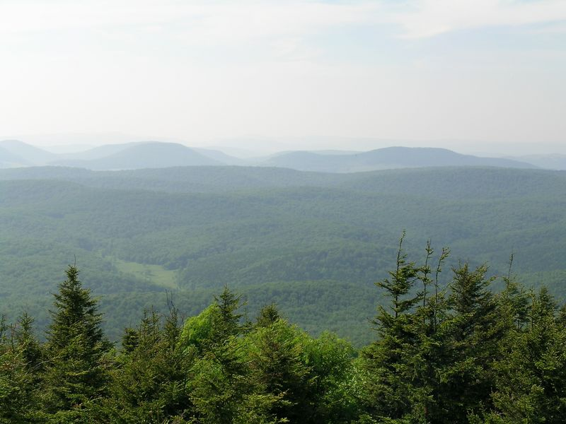 View looking west from Spruce Knob, the highest peak in West Virginia.