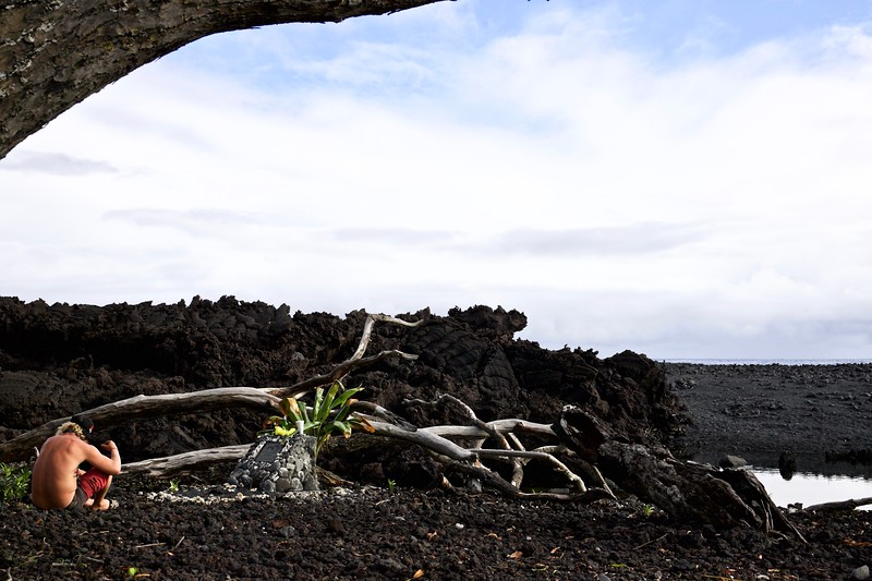 Pohoiki is the area by a new black sand beach, created when lava flowed into the sea.