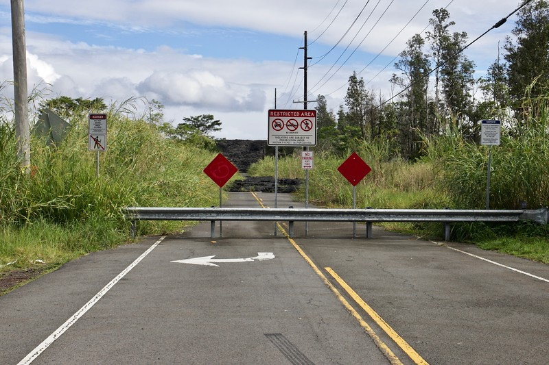 This used to be part of Leilani Estates on the lower rift zone of Kilauea ; over 700 homes were lost when lava flowed over them in 2018.