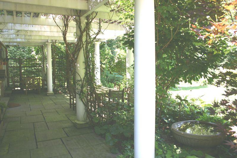 pergola outside guest cottage