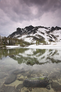 Lake Leprechaun and McClellan Peak reflection.
