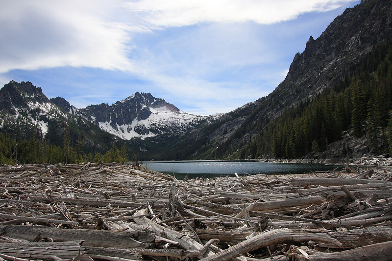 Upper Snow lake. McClellan Peak in the center, the Temple on the right.