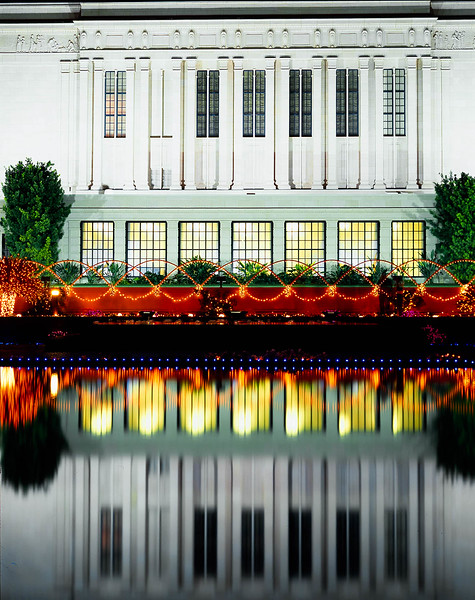 A reflection of the North Side of the Morman Temple in Mesa, AZ decorated for Christmas.