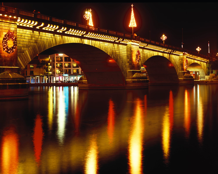 The London Bridge decorated for Christmas.  This was the first friday in December, and we were waiting for the parade of boats to begin.