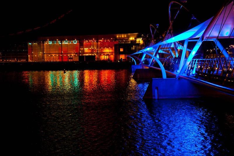 An artsy bridge over the Tempe Town Lake leading to the Tempe Center of the Arts