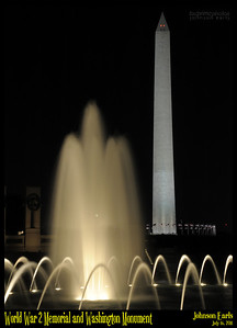 World War 2 Memorial and Washington Monument  National Mall, Washington DC, 16 July 2011