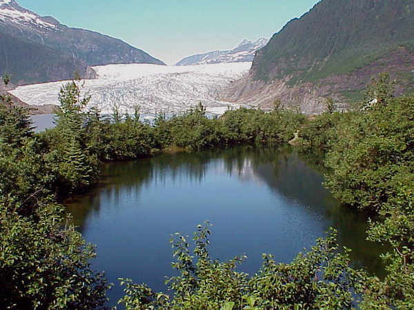 The Mendenhall Glacier is located near Juneau, Alaska and is one of the most visited glaciers in the world.