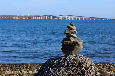 Rock art at Rome Point with the Pell Newport Bridge in the background. - March 2012