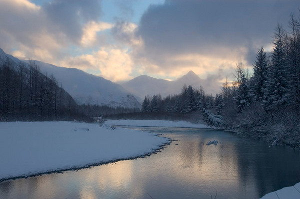Cold winter morning near Portage Glacier. This photo was taken Thanksgiving weekend.