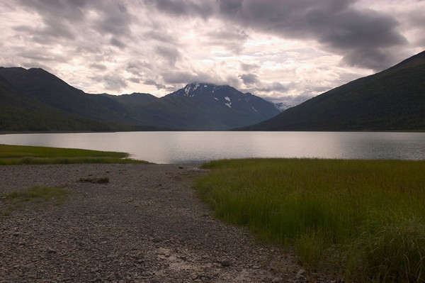 This rather bleak photograph was taken at Eklutna Lake, just north of Anchorage, in late July.