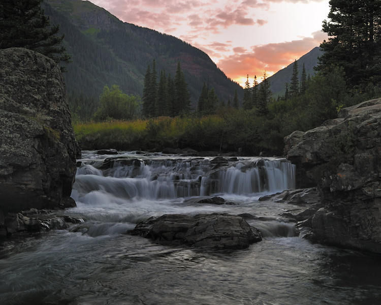 The falls above Golden Horn, Mineral Creek Colorado right at sunset.