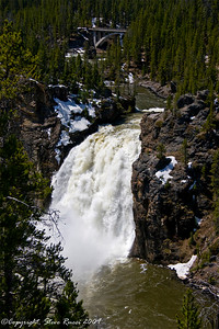 Upper Falls with Canyon bridge in the background, Grand Canyon of the Yellowstone.