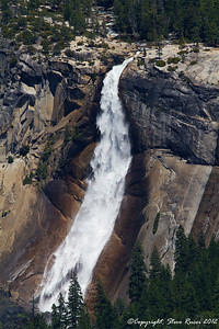 View of Nevada Fall from Glacier Point in Yosemite National Park - California.  For scale, note the footbridge over the river near the top of the photo.
