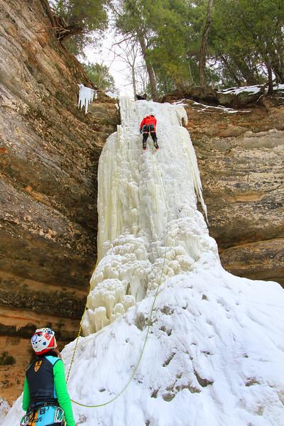 Climbing the Dryer Hose Waterfall  5   Munising mi.