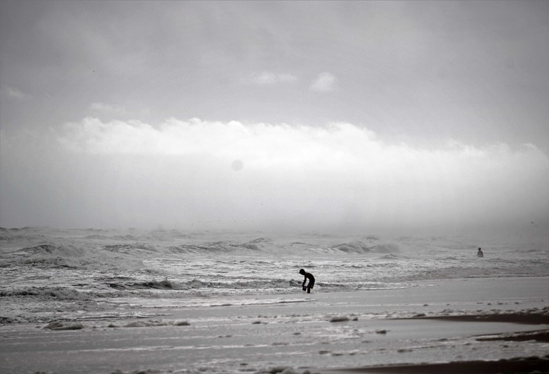 Boy Playing at Edge of Mist