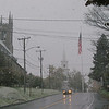A look up Main Street on October 15, 2009, when the first snow of the 2009-10 season arrived in Newtown.  (Hicks photo)