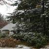 The corner house at The Boulevard and Schoolhouse Hill Road looked more like mid-winter than mid-October when the first snow of the season arrived in Newtown.  (Hicks photo)