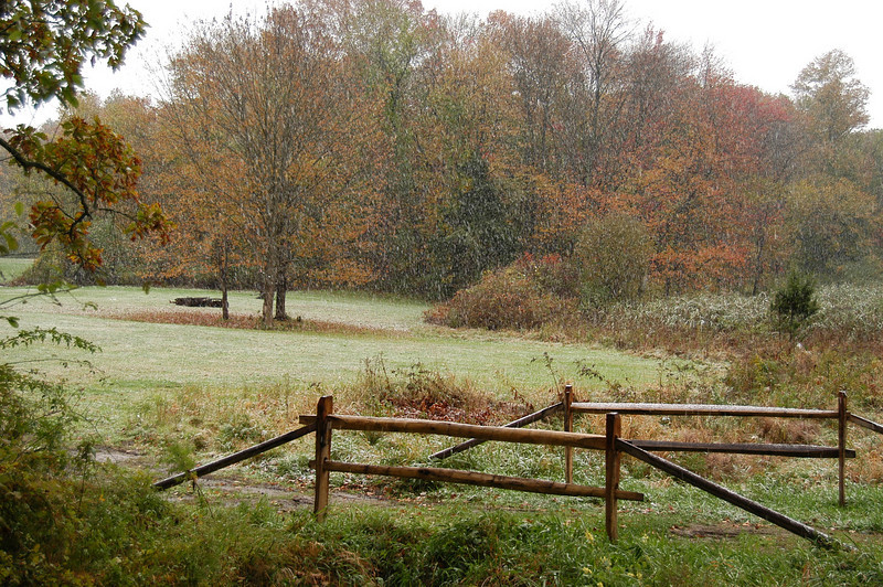 The first snow of the 2009-10 season arrived in Newtown on October 15, 2009. This was taken along Schoolhouse Hill Road.  (Hicks photo)
