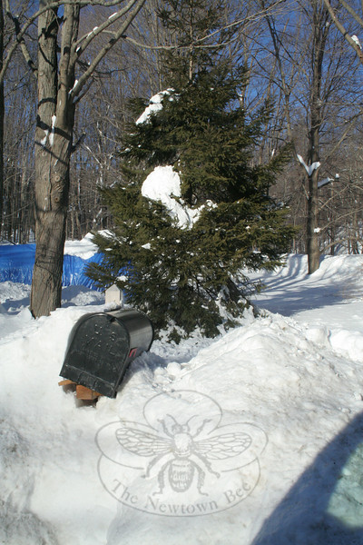 This mailbox on Berkshire Road had already been hit by a plow during the snow storm on January 7. It didn' have a chance when plows returned for 24 hours of work on January 12, 2010.  (Hicks photo)