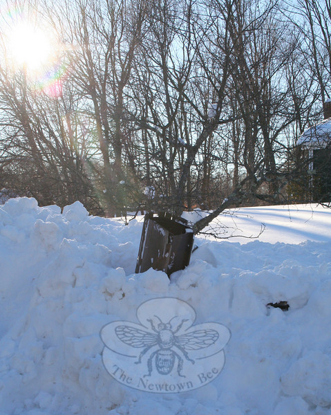 Another mailbox casualty of the storm.  (Hicks photo)