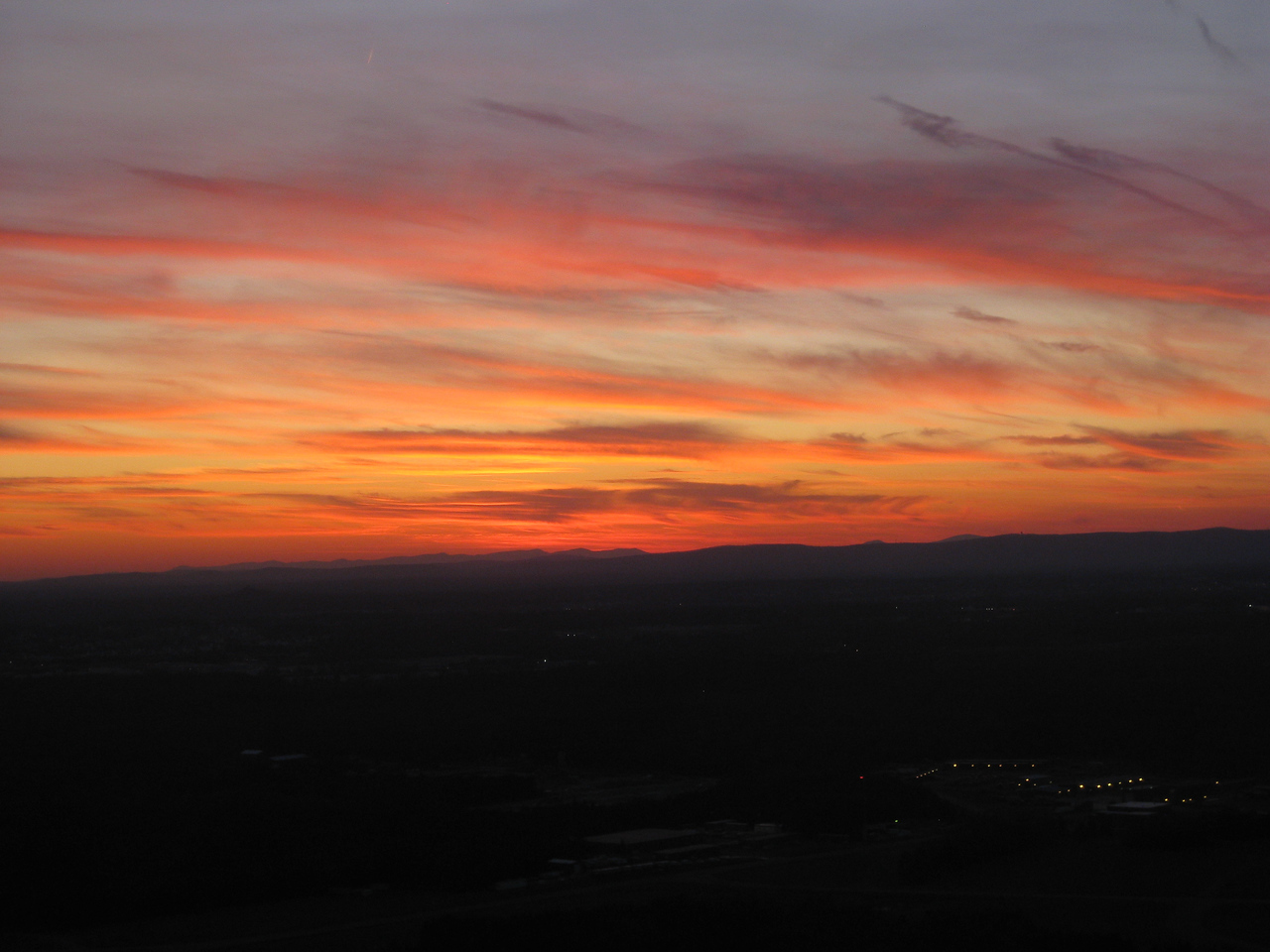 sunset colors while flying south Dullus to Greensboro