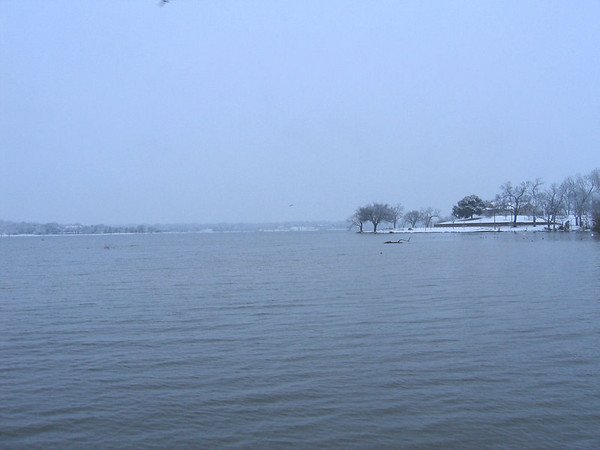 Looking north across White Rock Lake through the snow (126_2659)