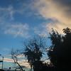 Mixed clouds at dawn behind anemometer