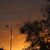 Orange red clouds behind anemometer at dawn