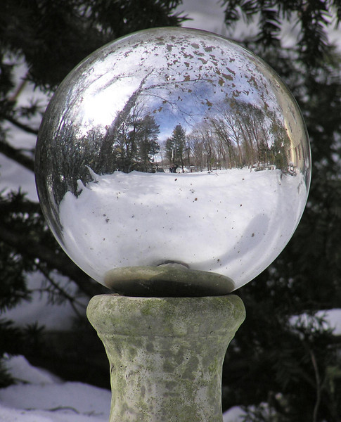 gazing ball after snow