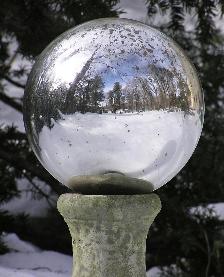 gazing ball after snow