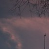 Thin high clouds behind anemometer at dusk