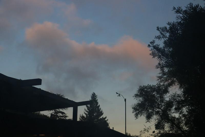 Stratus above anemometer at dusk