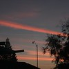 Con trails behind anemometer before dawn